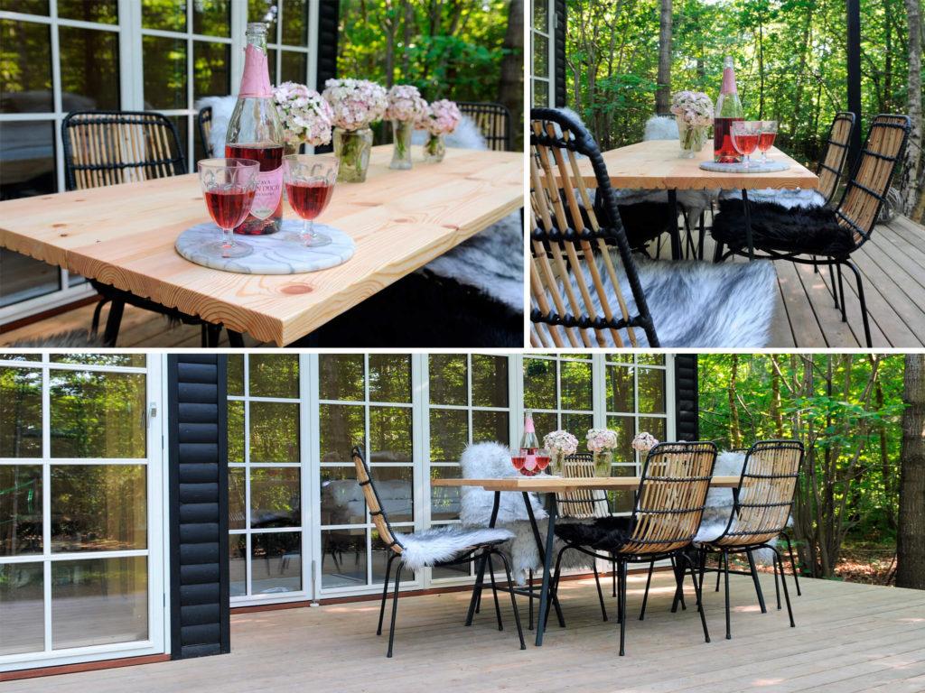 Det hjemmelavede havebord er lavet af gulvbrædder og er derfor både smukt og solidt