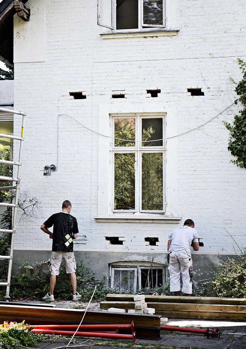 Afstivning inden terrassedør kan sættes i