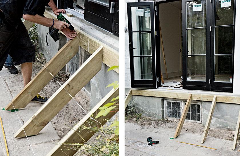Trappe til terrassedør tager form