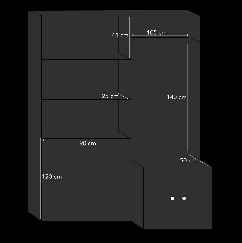 Badeværelsesmøbel i sorte MDF-plader arbejdstegning
