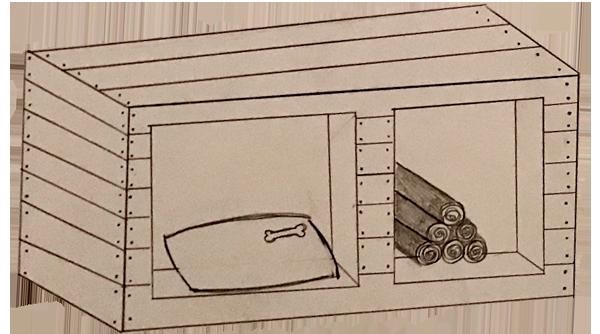 Manfreds hundehule og brændeskur arbejdstegning