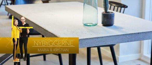 Spisebord af beton banner