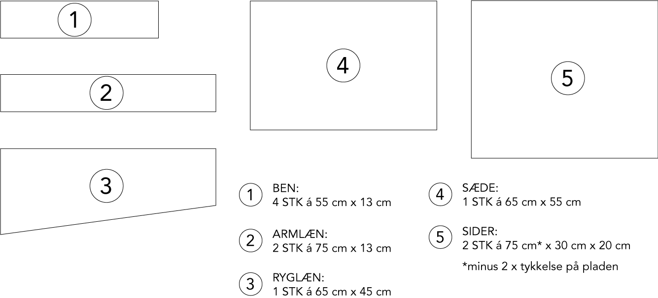 Lænestol i krydsfinér arbejdstegning